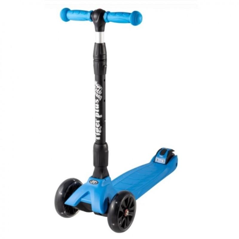 Детский самокат Tech Team TIGER Plus 2020 (синий) со светящимися колесами 1/4 (Р)