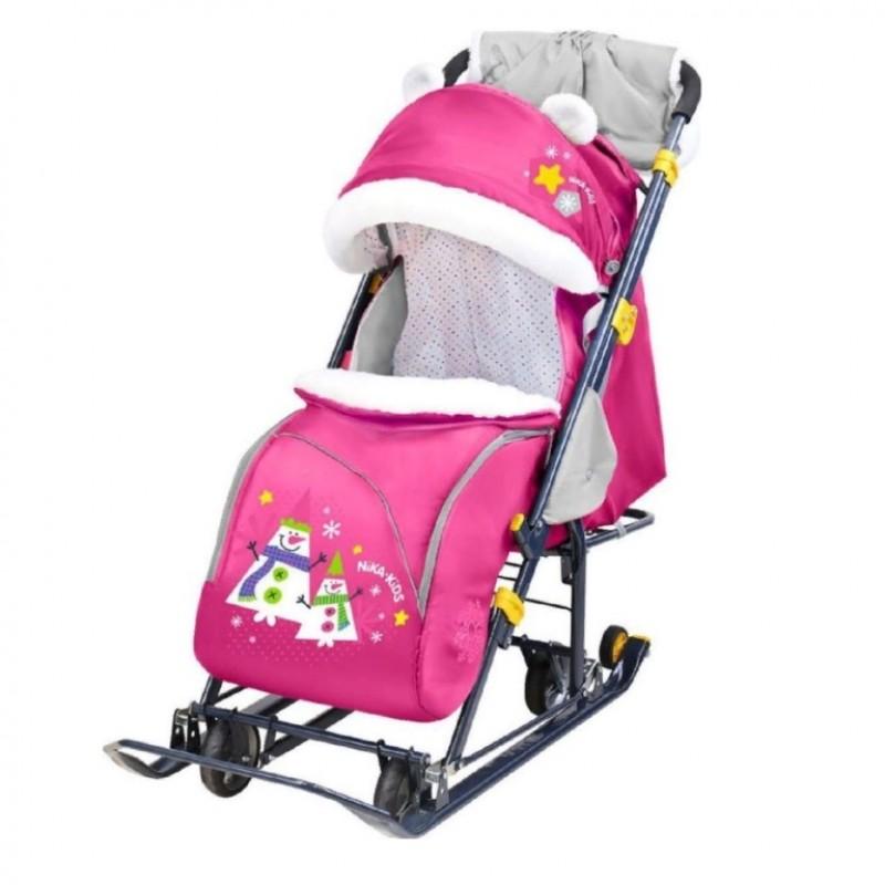 Санки коляска комбинированная Ника детям 7-6 снеговик розовый