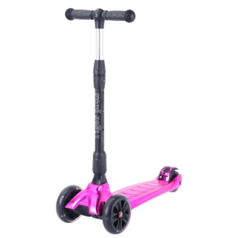 Детский самокат Tech Team TIGER Plus 2021 (малиновый металлик) со светящимися колесами 1/4 (Р)