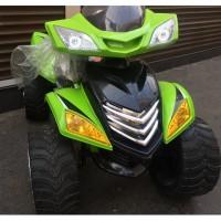 Электроквадроцикл детский E005KX (1) зеленый 12в резиновые колеса,кожанное сиденья