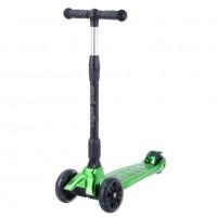 Детский самокат Tech Team TIGER Plus 2021 (зеленый металлик) со светящимися колесами 1/4 (Р)