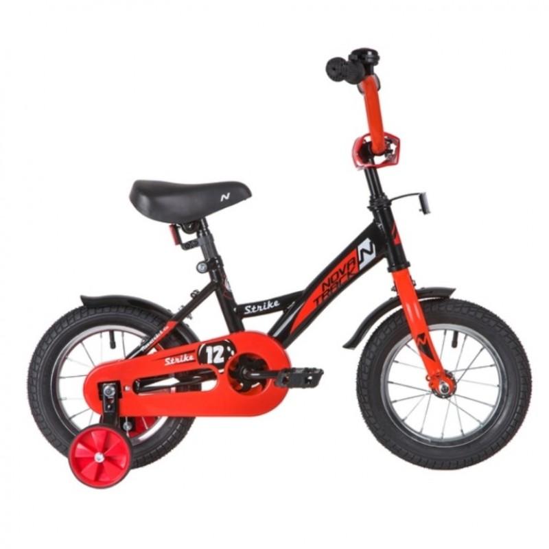 Велосипед 12 Novatrack Strike чёрный-красный, АКЦИЯ!!! тормоз нож. ,корот.крылья, полная защита цепи