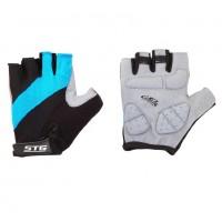 Перчатки X66457-С  летние быстросъёмные с защитной гелевой прокладкой,застёжка на липучке,кожа+лайкра,размер S, чёрно-голубые