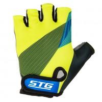 Перчатки STG  Х87910-М летние с защитной прокладкой,застежка на липучке,размер М,черн/салат/синие