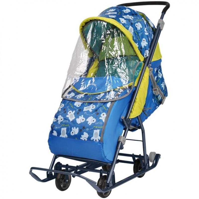 Санки коляска комбинированная «Умка 3-1/2» светоотражающие элементы принт синий с медвежатами У3-1/2