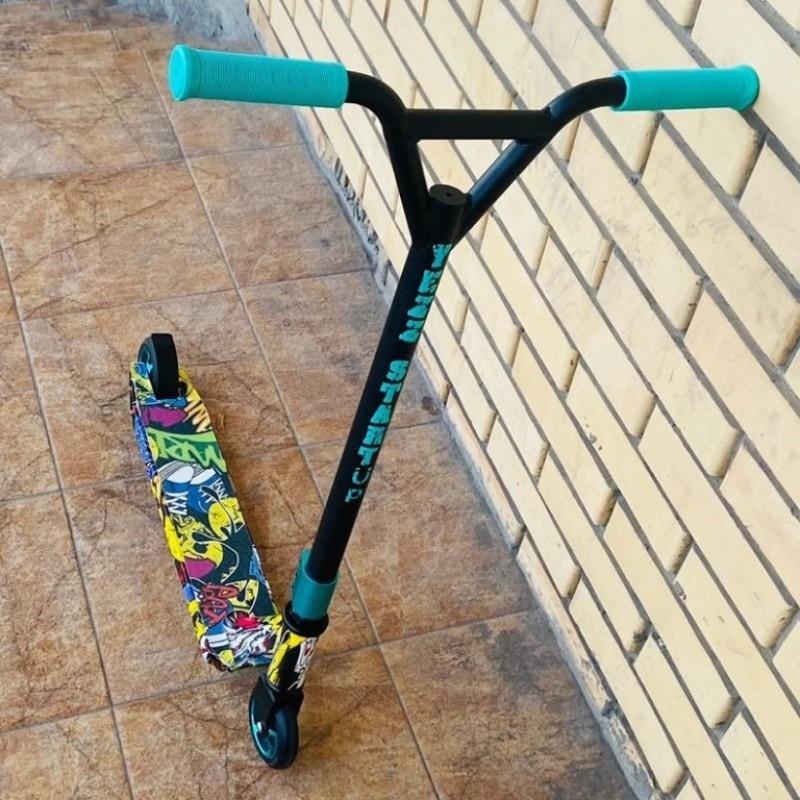 Самокат трюковой YEZZ STURT UP MS155, Цвет: зелёна-золотой