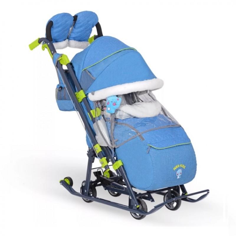Санки коляска комбинированная Ника детям 7-7 джинсовый стиль синий