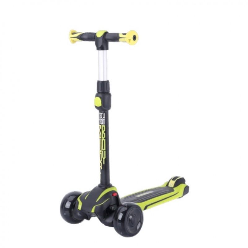 Детский самокат Tech Team SURFBOY 2021 (жёлтый/чёрный) со светящимися колесами 1/4 (P)
