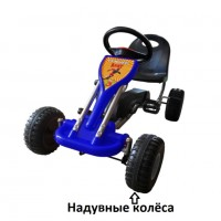 Педальная машина  ST00005-BL синий надувные колеса 89*52*51см