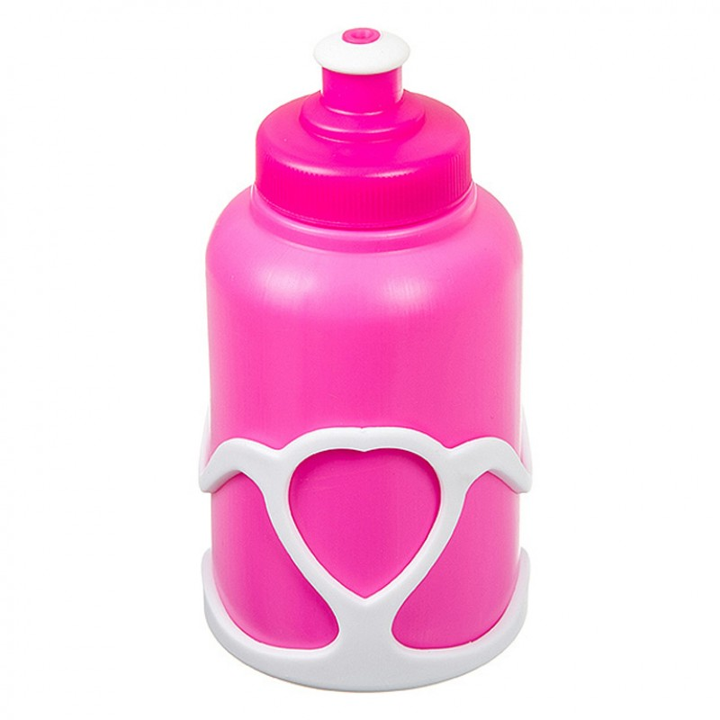 Велофляга X95401 STG с флягодержателем детская белый-розовый