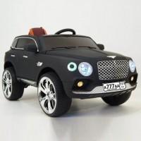 Электромобиль детский Bentley черный глянец, кожанный салон 12в р-у откр.дв кол.рез