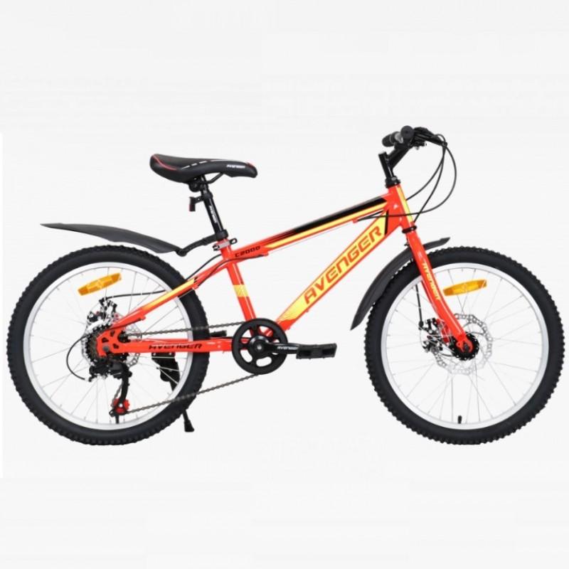 Велосипед 20 Avenger C200D-RD/YLN-11(21) красный/жёлтый неон