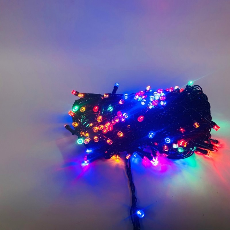 Гирлянда 200 ламп чёрная, цветной свет