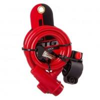 Замок X87809 STG TY596трос спирал. на ключе 10*100см красный