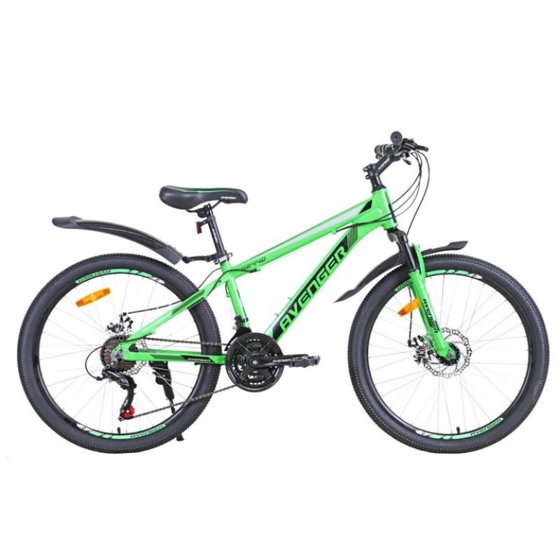 Велосипед 24 Avenger A244D-GN/BK-13(21)  зеленый/черный 13