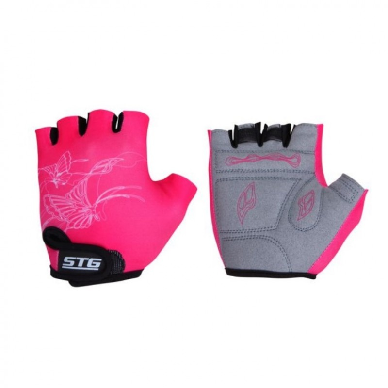 Перчатки X61898-С  дтские летние с защ. на липуч. кожа+лайкра S розовые