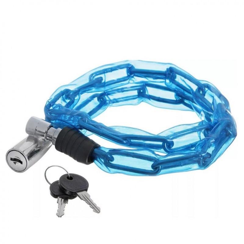 Замок  X66520 STG ,цепь в пластик. оплетке син. с ключом, 3,5*80см