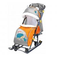 Санки коляска комбинированная Ника детям 7-6 ёжик оранж/серый