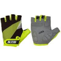 Перчатки STG  Х87911-Л летние с защитной прокладкой,застежка на липучке,размер Л,черн/салат