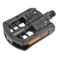 Педали  FP-875 , ось 9/16 складные со светоотражателями,пластиковые чёрные