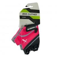 Перчатки X61872-Л  летние с защ. на липуч. чёрно-розовые