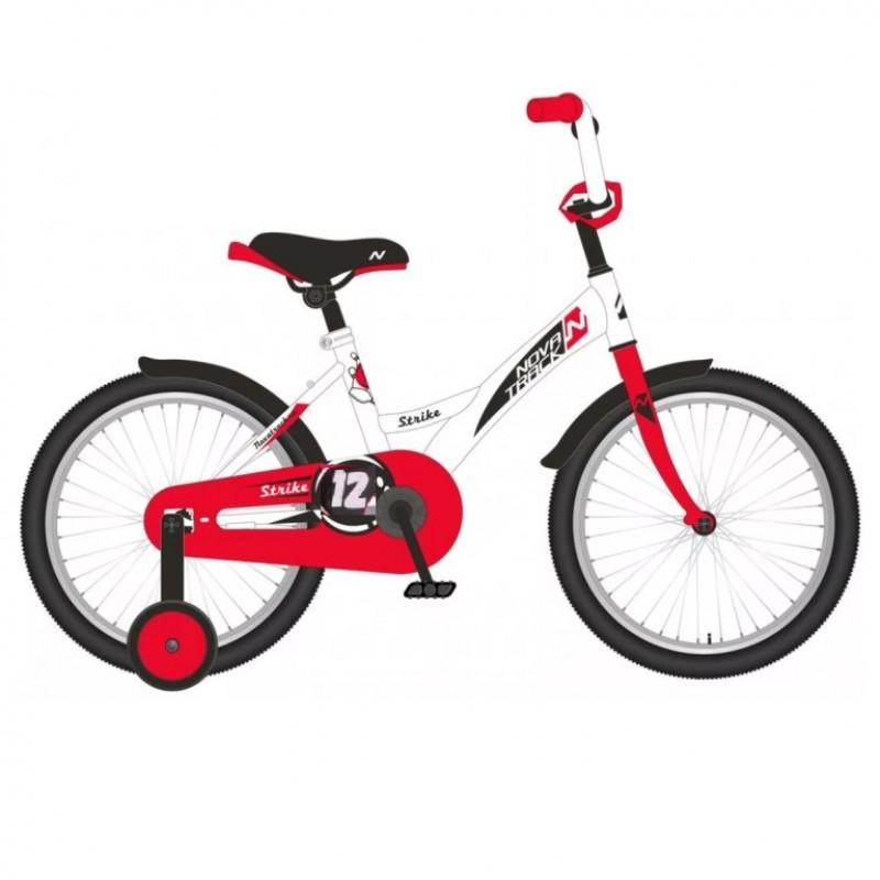 Велосипед 12 Novatrack Strike белый-красный, тормоз нож., корот.крылья, полная защита цепи