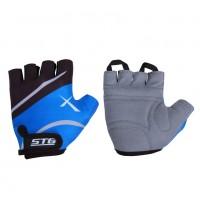 Перчатки X61886-Л  летние с защ. на липуч. кожа+лайкра L синее