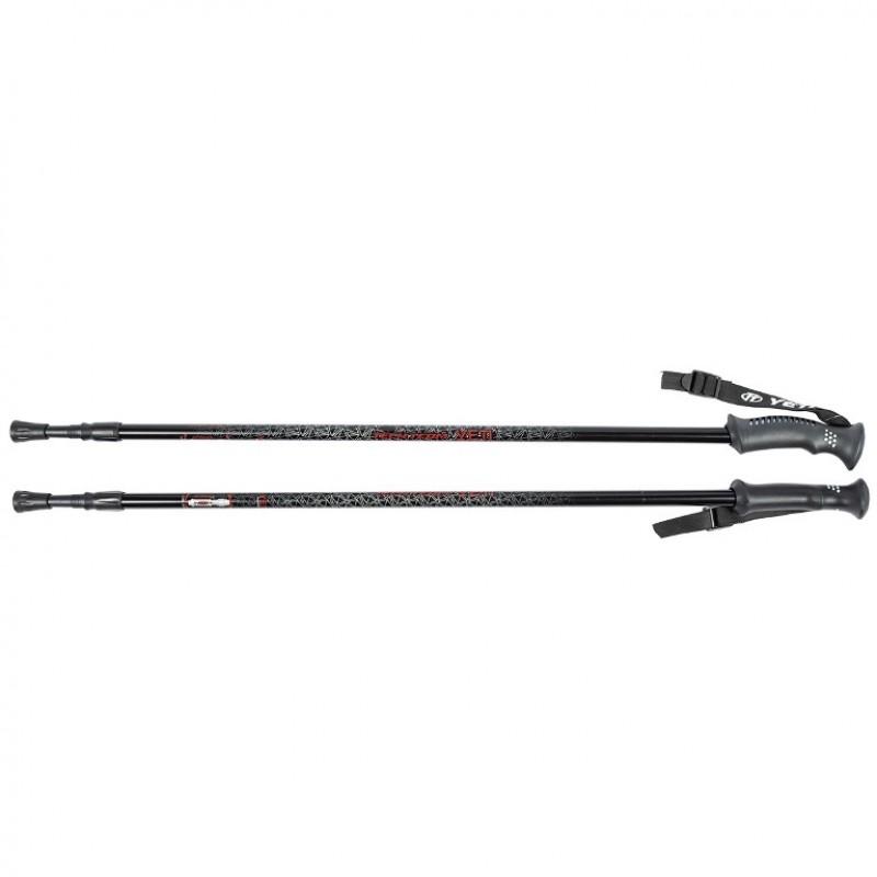 Палки  Yeti Black, треккинговые 115-135см 2-х секционные,диаметр 16/14мм, ручка пластмассовая , al6061, система antishock 1/30