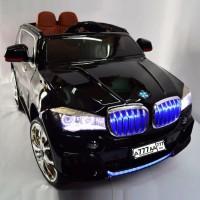 Электромобиль детский BMW 37690 черный, кож. сал. 12в р-у откр.дв кол.рез