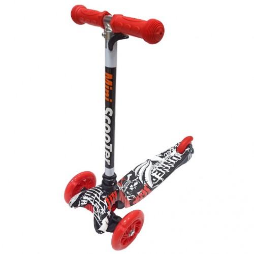 Детский самокат Scooter Mini print TJ702P Граффити чёрна-красный 1/6