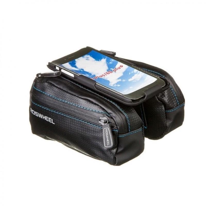 Велосумка X88295  STG мод. 121273-TY разм. M на  раму,с крепежом для телефона, 2-а отделения,черная.